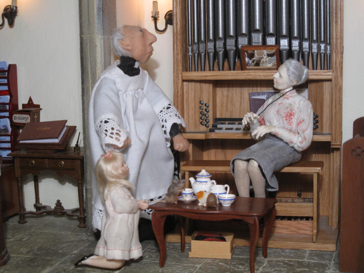 "Priscilla Jane is telling the vicar ALL about her idea that the story of Miss Enid's lost teaspoon is JUST like the parable of the ""Good Shepherd""."