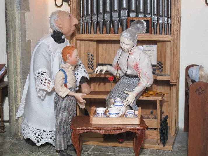 Miss Enid is just going to pour the vicar a nice cup of tea!